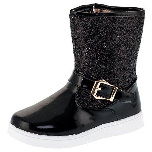 Mädchen Glitzer Boots Stiefel mit Reissverschluss in 3 Farben (30, #113sw Schwarz)