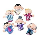 Jooks Baby Fingerpuppen Set Familie | lustige Handspielpuppen | niedliche Fingerfiguren | förderndes Baby-Spielzeug | witziges Lernspielzeug | 6 süße Handpuppen