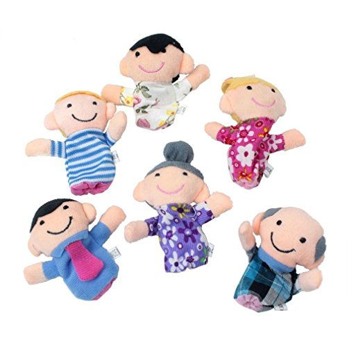 Jooks Baby Fingerpuppen Set Familie   lustige Handspielpuppen   niedliche Fingerfiguren   förderndes Baby-Spielzeug   witziges Lernspielzeug   6 süße Handpuppen
