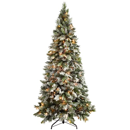 werchristmas-pre-lit-slim-snow-flocked-spruce-multi-function-christmas-tree-with-300-led-lights-6-ft
