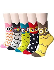 5 pares de calcetines de animales lindos de las mujeres calcetines de algodón ocasionales divertidos coloridos(Búho de dibujos animados)