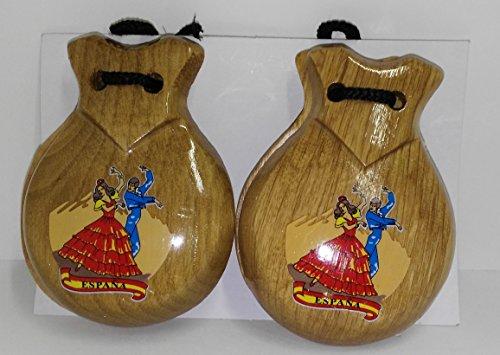Castañuelas de madera natural con diseño de baile flamenco, souvenir de España (BEIGE)
