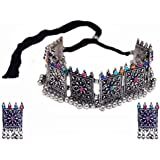 Total Fashion Traditional Oxidized German Silver Plated Multi Bead Choker with Earring Necklace Set for Girls & Women(Multi)