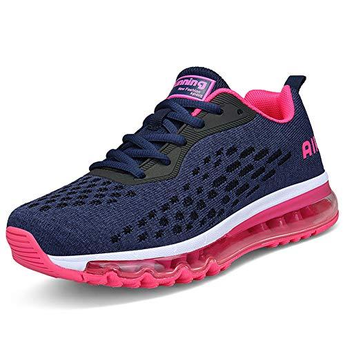 IceUnicorn Damen Laufschuhe Rutschfeste Atmungsaktiv Gym Sportschuhe Schnürer Outdoor Turnschuhe Joggen Schuhe Freizeit Sneaker(Rose,39EU) -
