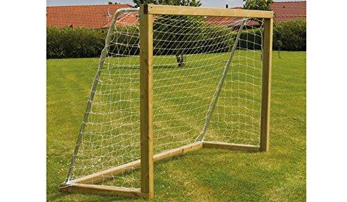 """Outdoor Garten Holz Fussball-Tor aus Kiefer / Fichte mit Stahlbügeln und Tor-Netz im Maß 200 x 60 x 200 cm """"Manuel"""""""
