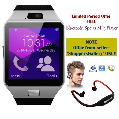 SAMSUNG Galaxy Note 5 Dual Compatible Ceritfied SW Bluetooth Smart Watch Phone With Camera and Sim Card Support With Apps like Facebook and WhatsApp Touch Screen Multilanguage Android/IOS Mobile Phone Wrist Watch Phone with activity trackers and fitness band(Assorted Color) with FREE GIFT