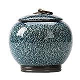 GEXING Urna dell'animale Domestico Vaso funebre commemorativo in Ceramica scolpito a Mano per ricordo di Cenere di Cani e Gatti Blue