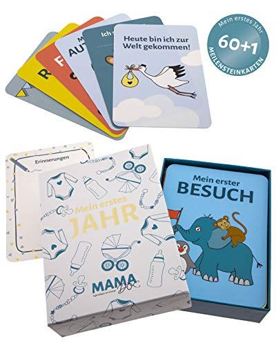 60+1 Baby Meilensteinkarten - Mein erstes Jahr - von Mamadoc, Geschenkbox für Schwangere oder zur Geburt des Babys - die schönsten Momente auf Fotos festhalten