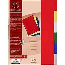 Exacompta - 3006E - Intercalaires Polypropylène - Format A4-6 Touches - Coloris Assortis