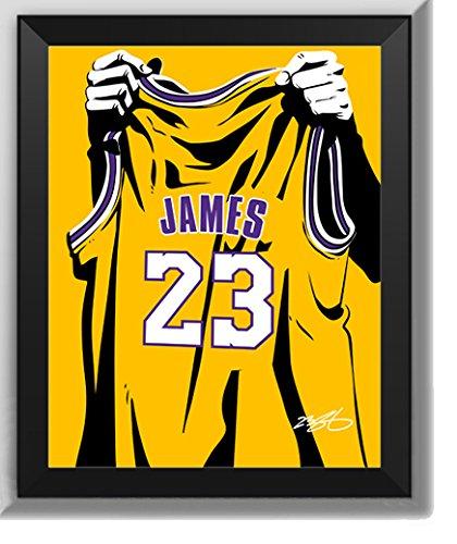 ASENER Los Angeles Lakers Lebron James - Angehoben Nr. 23 Trikot - Wandkunst Dekoration Signiert Poster/Fotorahmen Für Basketball-Fans,7Inch