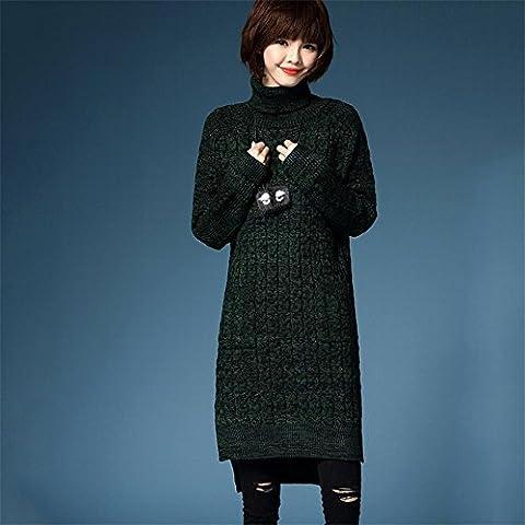 WZH Collar de pila suéter suelto grande de tamaño en mujeres engrosamiento vestido vestido suéter falda . m . ink green
