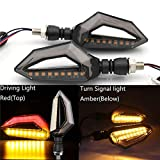 Universal Motorcycle 12 LED-richtingaanwijzers Blinker for Achter Verlichting for Harley Cruiser Honda Kawasaki BMW Yamaha (Color : Red driving light)