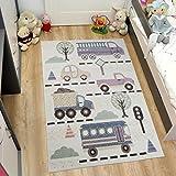 TAPISO HAPPY Kinder Teppich Kurzflor | Designer Kinderteppich in Pastell Creme Bunt Mehrfarbig mit Abstrakt Modern Auto Muster | Perfekt für Kinderzimmer | ÖKOTEX 80 x 150 cm