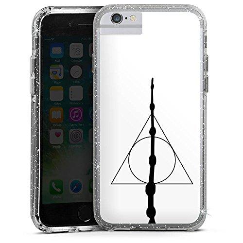 Apple iPhone 7 Bumper Hülle Bumper Case Glitzer Hülle Zauberstab Harry Potter Heiligtuemer Bumper Case Glitzer silber