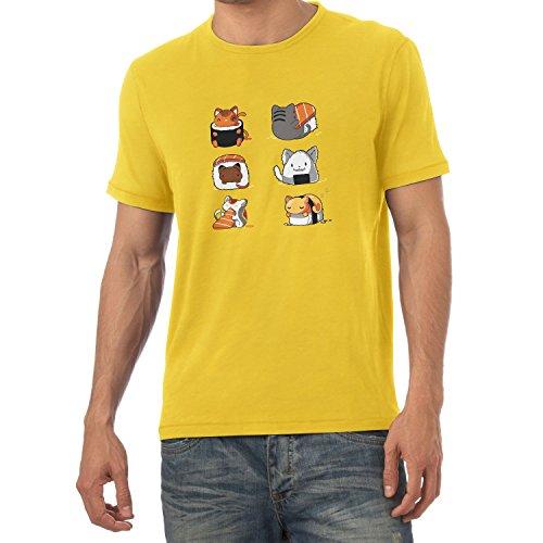 NERDO - Cat Sushi - Herren T-Shirt Gelb