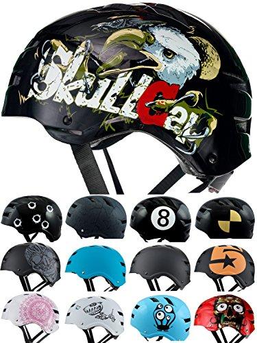 Skullcap BMX Helm  Skaterhelm  Fahrradhelm , Herren | Damen | Jungs & Kinderhelm, schwarz matt & glänzend (Eagle, L (56 - 58 cm))
