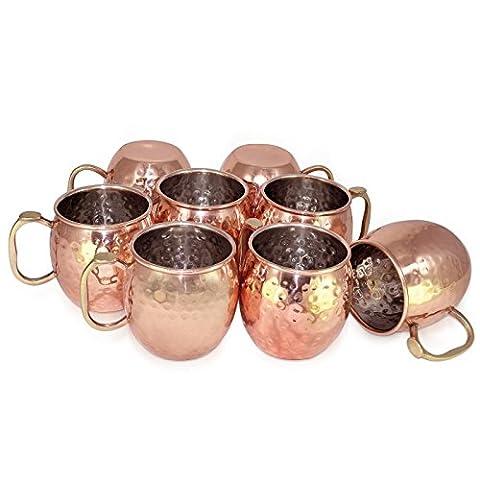 Dungri India ® À la main La meilleure qualité 100% pure Copper Mug pour Moscow Mules 550 ML / 18 oz, Set of 8, Copper Plating Stainless Steel Meilleure qualité