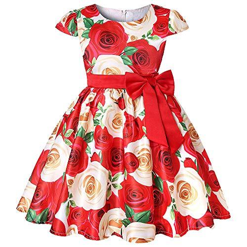 Beikoard Mädchen Baby Kleid Floral Baby Girl Princess Brautjungfer Pageant Kleid Geburtstag Party Hochzeitskleid Taufbekleidung Cocktailkleid