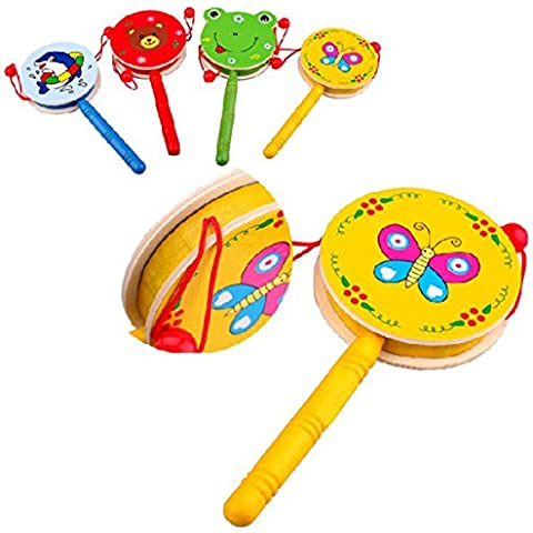 KINGSO Baby Kid Wooden Musical Hand Bell Shaking Rattle Drum Toy by King So