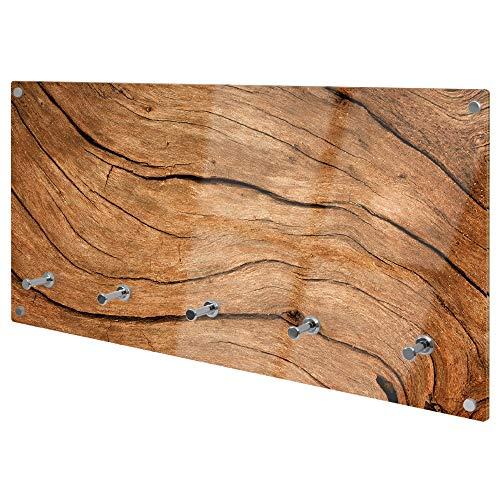 banjado Wandgarderobe aus Echtglas | Design Garderobe 80x40x6cm groß | Paneel mit 5 Haken | Flurgarderobe für Jacken und Mäntel | Garderobenleiste mit Motiv Trockenes Holz