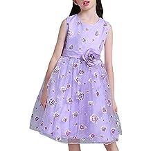 Las Niñas Imprimir Sin Mangas Niños Vestido Princesa Vestido De Las Flores Boda Púrpura para 7-8 años