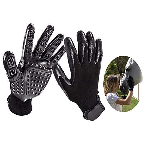 Nuoyi 5 Pairs Pet Grooming Handschuh, Pet Deshedding Brush Handschuh mit Verstellbarer Handschlaufe für Pferde Lang & Kurz Fell Schonende Enthaarungsbürste Ihr Haustier Wird es lieben -
