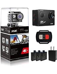 SSA WIFI Sports Action Camera Ultra HD 12MP Caméscope DV imperméable à l'eau Écran LCD grand angle de 170 degrés avec télécommande sans fil 2.4G / 3 piles rechargeables / 21 kits de montage (with remote control)