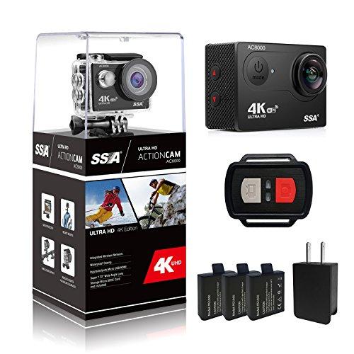 SSA 4K WIFI Sport-Tätigkeit Kamera Ultra HD wasserdichter DV Camcorder 12MP 170 Grad Weitwinkel einschließen wasserdichtes Gehäuse, 2pcs Batterien und volle Accesspries Kits (With Remote control)
