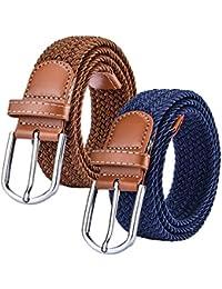 Chalier Paquete de 2 Cinturón Trenzado de Lona elástica Femenina -  Cinturones Elásticos Tejidos de Mujer 3b11a3ddd541