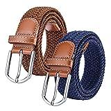 Chalier 2 Pack Damen Elastischer Stoffgürtel Geflochtener Stretchgürtel Dehnbarer Gürtel, Brown & Navy, Einheitsgröße