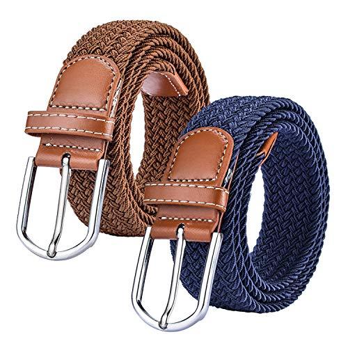 Chalier (2 pezzi) cintura donna elastico intrecciata con fibbia, cinture uomo casuale regolabile in tessuto per jeans