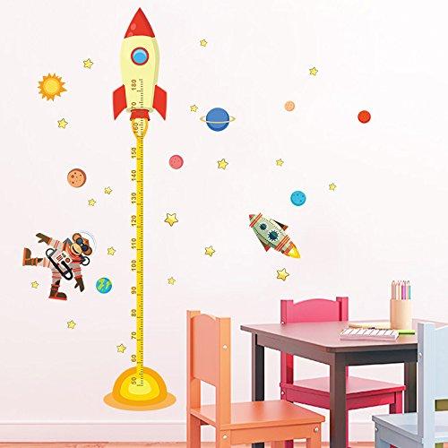 Pegatina pared vinilo decorativo medidor altura mono astronauta para cuartos bebes niños juegos guarderias colegios de CHIPYHOME