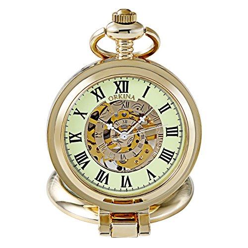 volles Jäger-goldenes Leuchtend Vorwahlknopf-Rom-Zahl-Skelett-mechanische Fob-Taschen-Uhr mit Kette Mens Steampunk