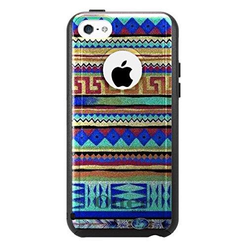 DistinctInk Fall für iPhone 5C Otterbox Commuter Gewohnheits-Fall Blau, Rot, Gelb Stammes- Druck auf Schwarz-Fall (5c Fällen Otter Box Blau)