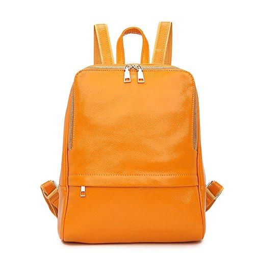 Nikauto leder rucksack für frauen einheitsgröße gelb