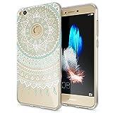 Huawei P8 Lite 2017 Hülle Handyhülle von NALIA, Slim Silikon Motiv Case Crystal Schutzhülle Dünn Durchsichtig Etui Handy-Tasche Back-Cover Transparent Bumper für P8Lite-17, Designs:Mandala Blau Türkis