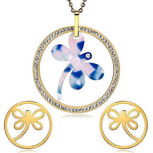 Epinki Damen Schmuck-Set Libelle Anhänger Cubic Zirkonia Gold Blau Tropfen Ohrhänger Halskette Valentinsgeschenk Weihnachtsgeschenkes (Kostüm Schmuck Libelle)