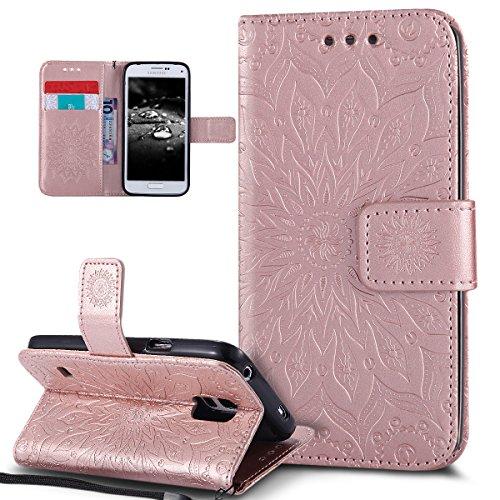 Kompatibel mit Galaxy S5 Mini Hülle,Galaxy S5 Mini Schutzhülle,Prägung Mandala Blumen Sonnenblume PU Lederhülle Flip Hülle Cover Ständer Wallet Tasche Case Schutzhülle für Galaxy S5 Mini,Rose Gold Mini-flip-cover