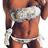 Petalum Damen Bikini Set Sommer Push Up Pailletten Bandeau Schleife Slip Badeanzuge Beach Sea 2 Pcs