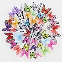 DecoBay 6 Colors 3D Butterfly Removable Mural Stickers Wall Stickers Decal for Home and Room Decoration, 72 Pieces Refrigerator Magnet, Card Making Stickers (Multi-Coloured)