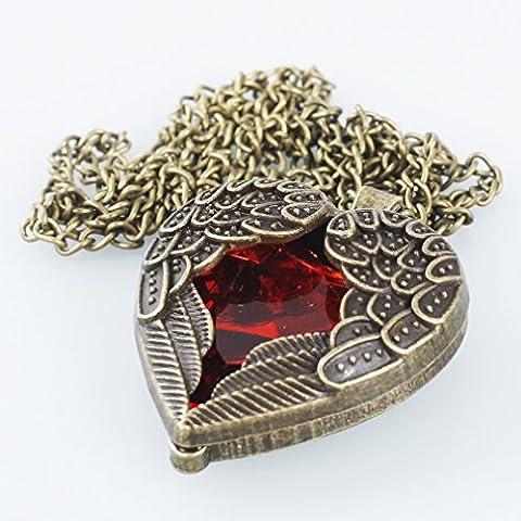 A-szcxtop ™ Rétro bronze chaîne Pendentif Cœur Rouge et ailes d'anges style rétro
