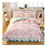 KFZ-Bettwäsche-Set, 4-teilig, Spitze, Bettdeckenbezug, 2 Kissenbezüge, Keine Bettdeckenbezug, Prinzessinnen-Design, Gänseblümchen-Design, Microfaser, Eve Flower, Pink, Bed Skirt 59
