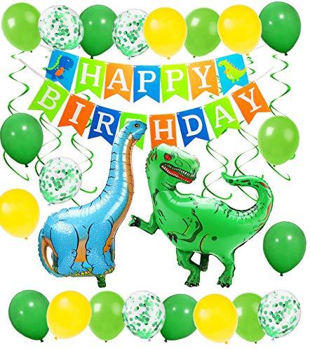 Geburtstag Deko Junge Brontosaurus Tyrannosaurus Rex Folienballons Dinosaurier Happy Birthday Girlande mit Luftballons Grün und Gelb für Dschungel Party Kinder Dinosaurier Party Dekoration