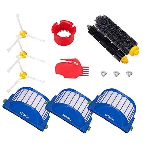 eBasic Roomba Ersatzteile zubehör für iRobot Roomba 600 650 620 651 621 615 616 605 Zubehörteil Set Seitenbürste / Rollende Bürste / Filter / Leimpinsel