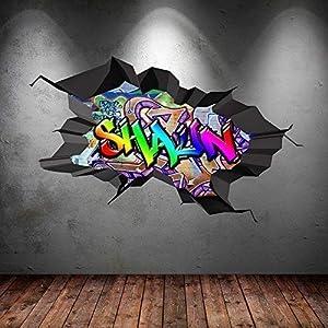 Wall Smart Designs Multi Farbige Personalisiert 3D Graffiti Name Cracked Wandkunst Aufkleber - S 70cm(W) x 43cm (H)