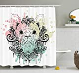 ewtretr Animal Shower Curtain, French Bulldog with Floral Wreath on Brushstroke Watercolor Print, 60 * 72inch, Mint Light Pink Pale Green Beautiful