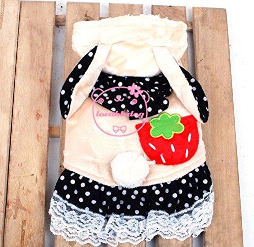 Bunny Kostüm Pet - zunea Strawberry Dots Prinzessin Mädchen Hund Hoodie Coat Fleece gefüttert Pet Bunny Kostüm Halloween, für kleine Hunde, Welpen, Katzen