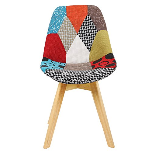 51wE9XXOV L. SS500  - WOLTU® BH29mf-1 1 x Dining Chair Retro Kitchen Chair Patchwork Linen Dining Chair, Multicolored