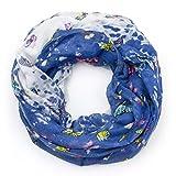 MANUMAR Loop-Schal für Damen   Hals-Tuch in dunkel-blau mit Schmetterling Motiv als perfektes Herbst Winter Accessoire   Schlauchschal   Damen-Schal   Rundschal   Geschenkidee für Frauen und Mädchen