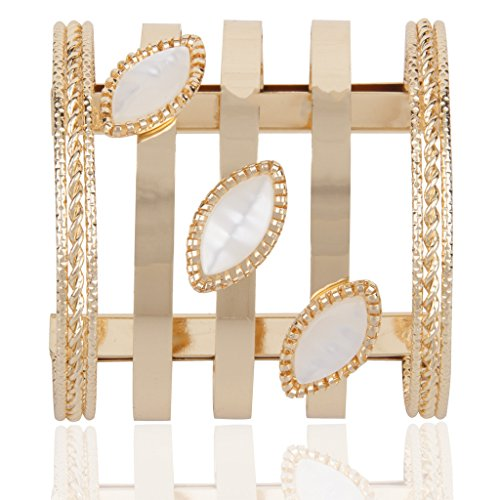 Naveli Designer Gold Plated With Ovel Shaped Pearls Cuff Kada Bangle Bracelet For Women